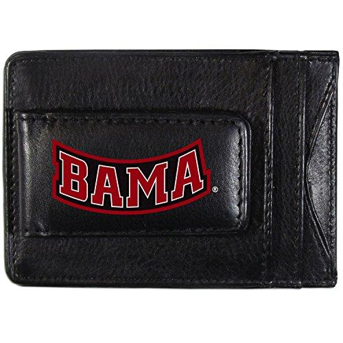 Alabama Money Clip - Siskiyou NCAA Alabama Crimson Tide Logo Leather Cash and Cardholder, Black