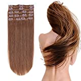 12-22inch Clip in Remy Human Hair Extensions Grade 7A Thick to End Full Head Natural Hair Long Straight 8 Pieces 18clips 95g 16''-18'', #6 Light Brown