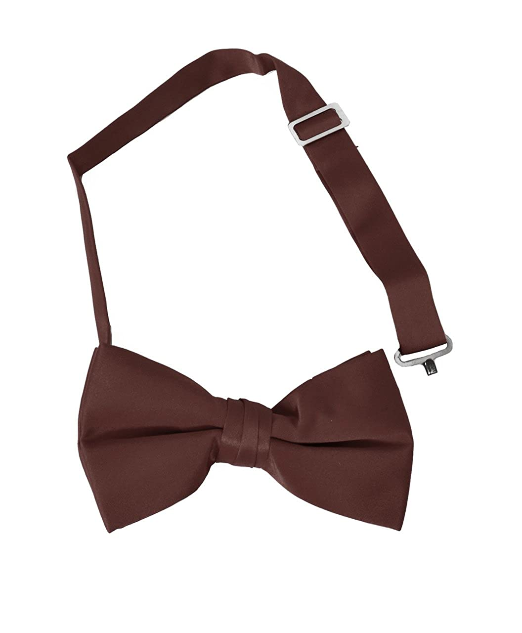 Brown Boys Solid Banded Bow Ties