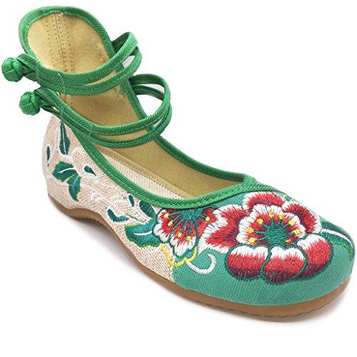 Eagsouni® Damen Doppel-Bgel Bestickt mit niedrigem Keil Ballerina Mary Jane Schuhe Grün