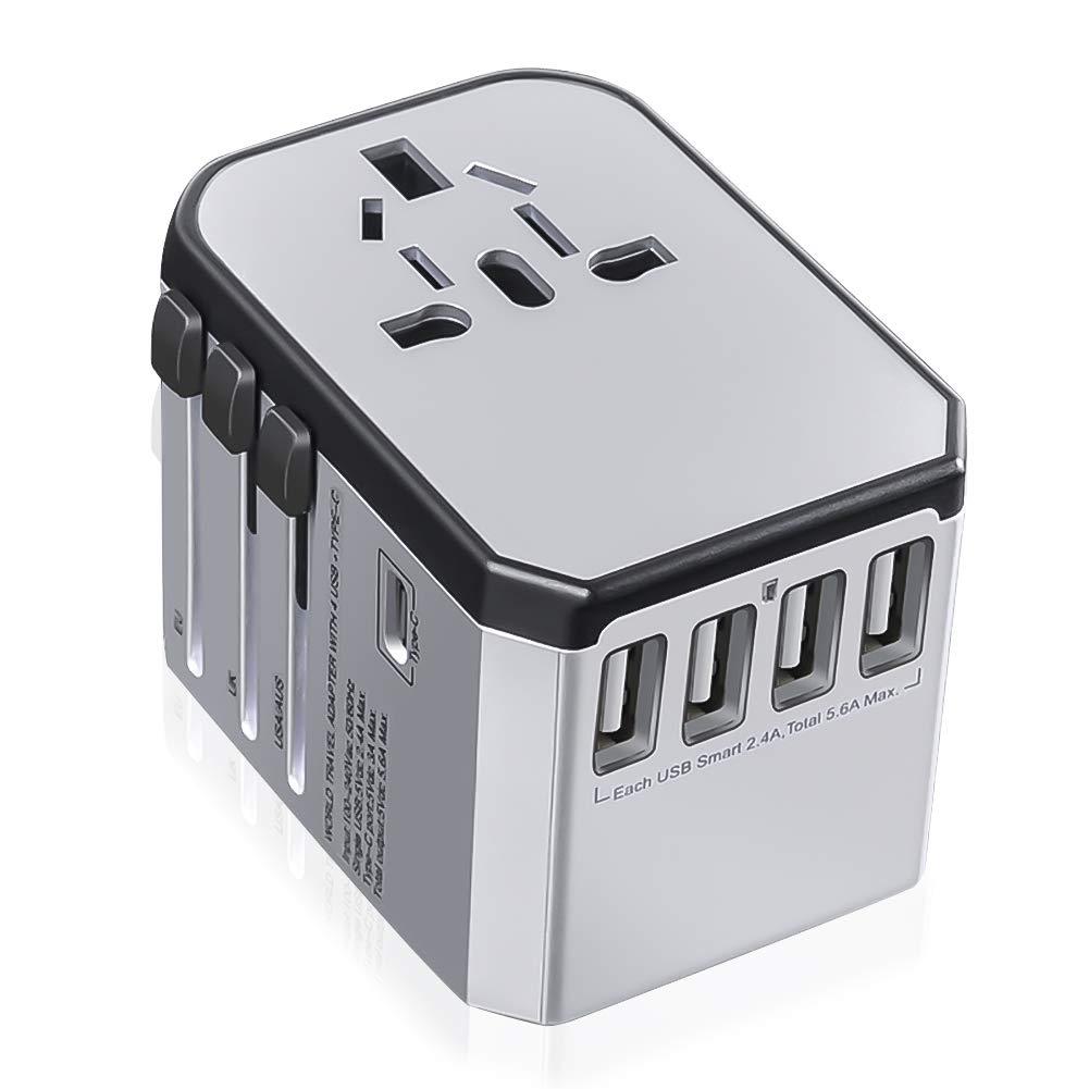Adaptador de Viaje Enchufe Universal, Adaptadores Internacional Travel Adapter con 4 Puertos USB y 3.0 A Tipo C para Má s de 150 Paí ses US/EU/UK/AUS BRUTURE