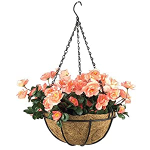 Lopkey Outdoor Artificial Red Azalea Bush Flower Patio Lawn Garden Hanging Basket with Chain Flowerpot,Orange 19
