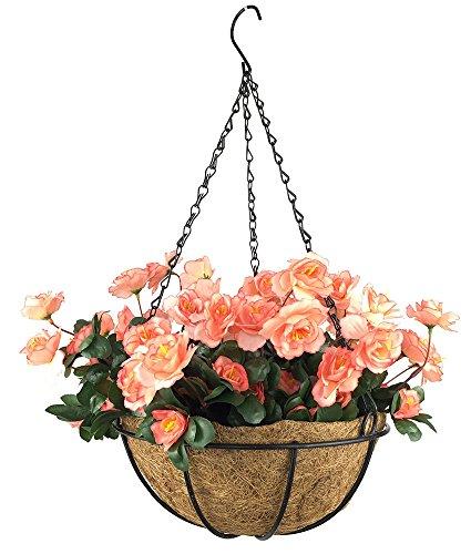 Lopkey Outdoor Artificial Red Azalea Bush Flower Patio Lawn Garden Hanging Basket with Chain Flowerpot,Orange ()