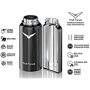 Profi Tonus Double Wall Vacuum Insulated Stainless Steel Black Water Bottle 1 Liter (32 oz), One of the Coldest and Hottest Drinks, Wide Mouth with BPA Free Straw and Flip Lid for Beverages and More