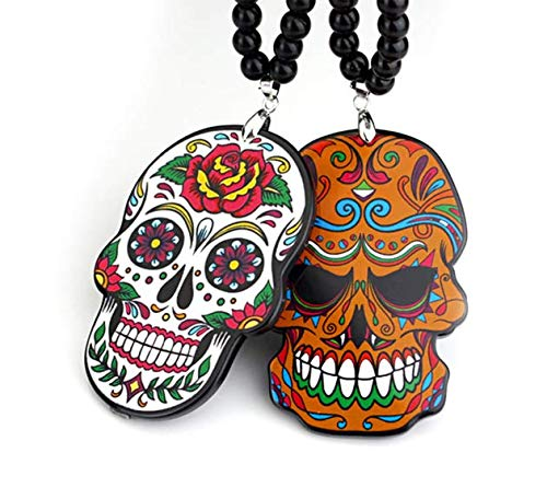 Tongta Hippie Flowery Skeleton Skull Hip Hop Automobile Rear View Mirror Charms Hanging Ornaments Keychain