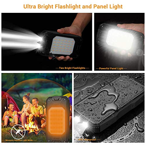 Solar Charger 26800mAh, Portable Solar Power Bank USB C PD 18W Fast Charger with Ultra Bright 2 Flashlights and 60 LEDs Panel Light, External Battery Pack for Camping Outdoor