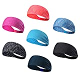 Leories Headbands Head Wrap & Sports Wicking Stretchy Sweatband For Running, Crossfit, Yoga, Cycling, Working Out And More Headscarf fits all Men & Women (7PCS)