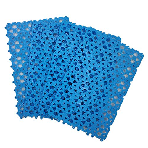 4 Packs Pet Mats Plastic Spliced Pads with Heart Hole for Bunny Rabbit Cat Cage Water Leak(Blue)