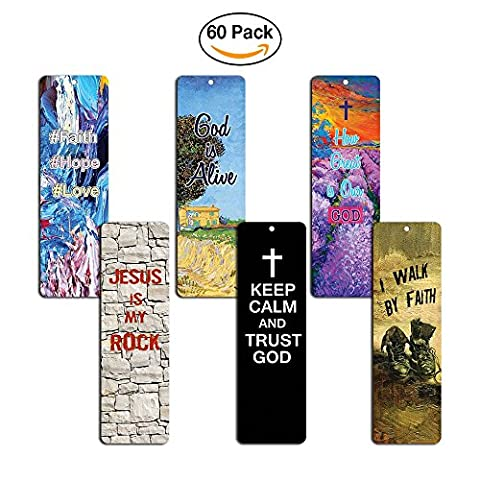 Favorite Bible Verses Bookmarks (60-Pack)- Reassuring us with God's message of Love and Hope - Prayer Cards Religious Christian Gift to Encourage Men Women Teens Boys Girls - God Prayer Card