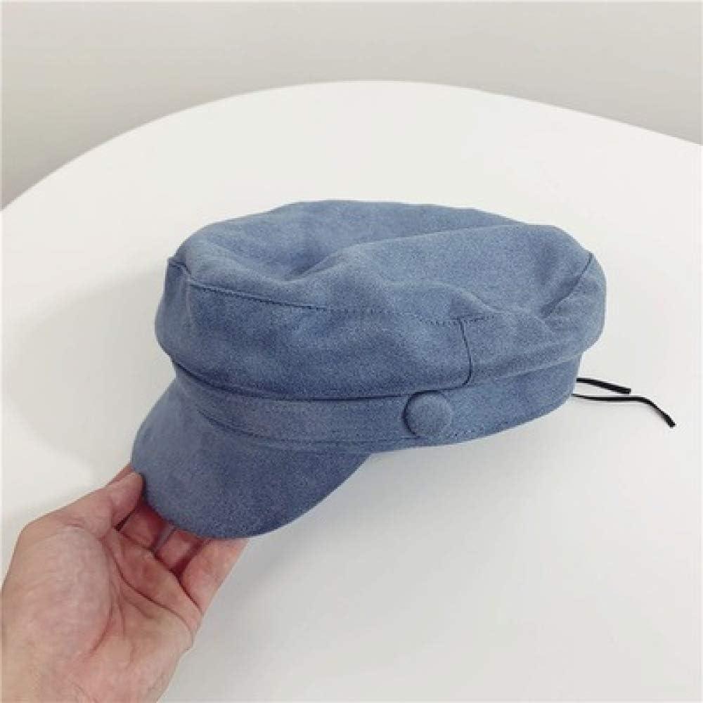 Sombrero de Gamuza Salvaje Azul Marino Boina Plana Superior ...