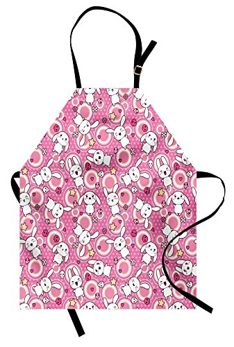 Ambesonne Anime Apron, Funny Kawaii Illustration with Rabbits