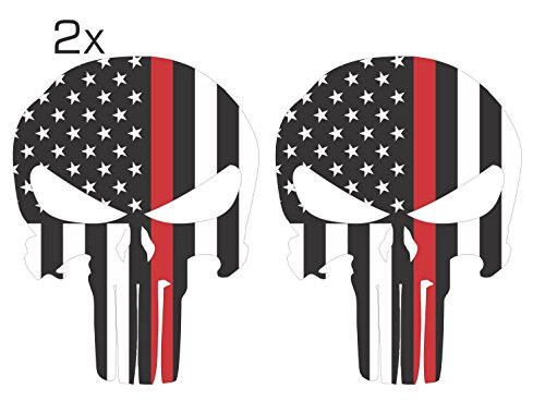 Official Red Line Punisher Skull 3M/Orafol Decal Supporting Our Firefighter Heroes Various Sizes Pack of 2 (5'' x 7'', White Solid Punisher Skull) by Ohana Graphix