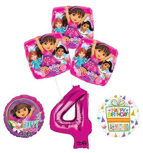 (Dora the Explorer 4th Birthday Party Supplies and Balloon Bouquet)