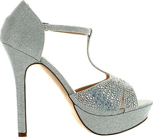 DeBlossom De Blossom Womens Gap-15 Fashion T-Strap Bridesmaid Prom Party Dress Pumps Shoes Silver 5YPDr