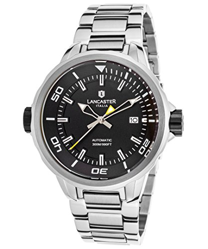 Lancaster Mens Steel (Lancaster Italy Ola1086mb-Ss-Nr Men's Space Shuttle Automatic Stainless Steel Black Dial Ss)