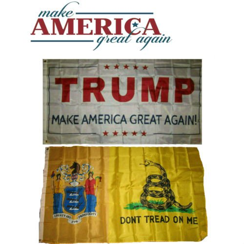 Moon 3x5 Donald Trump White & New Jersey Gadsden Wholesale Flag Set 3x5 - Vivid Color and UV Fade Resistant - Prime Outside Garden Home Decor