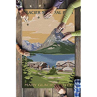 Glacier National Park, Montana - Many Glacier Hotel (Premium 1000 Piece Jigsaw Puzzle for Adults, 20x30, Made in USA!): Toys & Games
