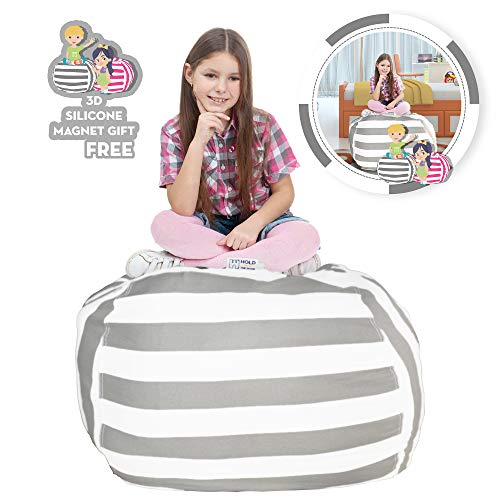 Hold The Door Extra Large Stuffed Animal Storage Bean Bag Chair - Toy Organizer & Comfy Chair - Perfect Storage Solution for Plush Toys, Blankets, Towels & Clothes - (Grey Striped, 38