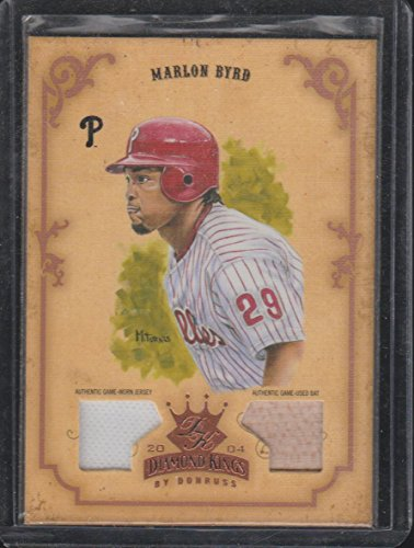 2004 Dimaond Kings Marlon Byrd Phillies 70/100 Game Used Jersey/Bat Baseball Card #26