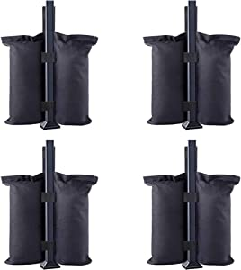 Dongawin Canopy Weights Tent Sand Bags Industrial Grade Weights Bag Leg Weights for Pop up Canopy Tent, Patio Umbrella, Outdoor Furniture (4small, black)