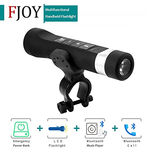 Multifunctional Handheld Flashlight / FOJNY Rechargeable Bright LED Torch / Portable Bike Headlight with Bluetooth Bicycle Speaker Power Bank Support TF Card/Calls/Music/FM Radio (Black)