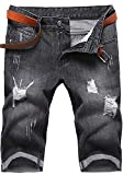 Men Vintage Ripped Knee High Mid Rise Regular-Fit Beach Denim Jeans Shorts Black US 27 / Tag 28