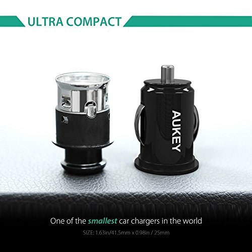 AUKEY CC-S1 Car Charger, Flush Fit Dual Port 4.8A Output for iPhone iPad Samsung & other - Black