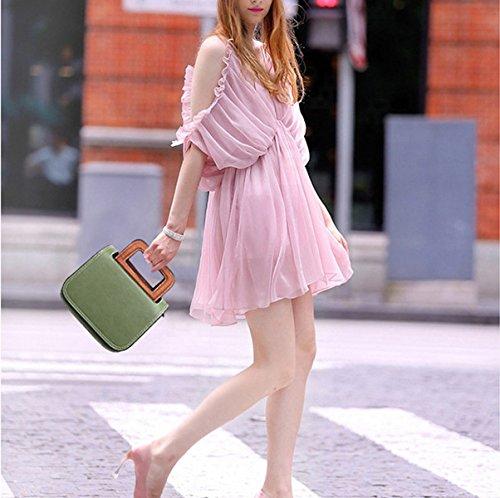 Mujer Nuevo PU Europa Y Estados Unidos Bolsas De Hombro Moda Bolsa De Silla De Montar Bolso Cartera Bolsa Pink