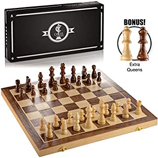 """Chess Armory 15"""" Large Magnetic Wooden Chess Set with Felted Game Board Interior for Storage"""