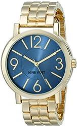 Nine West Women's NW/1694BLGB Blue Sunray Dial Gold-Tone Bracelet Watch