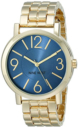 Nine West Women's NW/1694BLGB Blue Sunray Dial Gold-Tone Bracelet (Gold Tone Blue Dial)