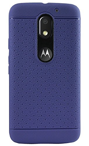 Parallel Universe Moto E3 Power Leather Like Textured Tpu Dotted Back Cover Case - Blue