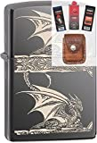 Zippo 28961 Dragon Side Print Lighter + Fuel Flint Wick Pouch Gift Set