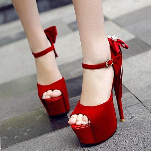 Della Peep Con Taoffen Piattaforma Rosso Sexy L'arco Sandali Stiletto Scarpe Partito Donne Toe 5R5ZOvX