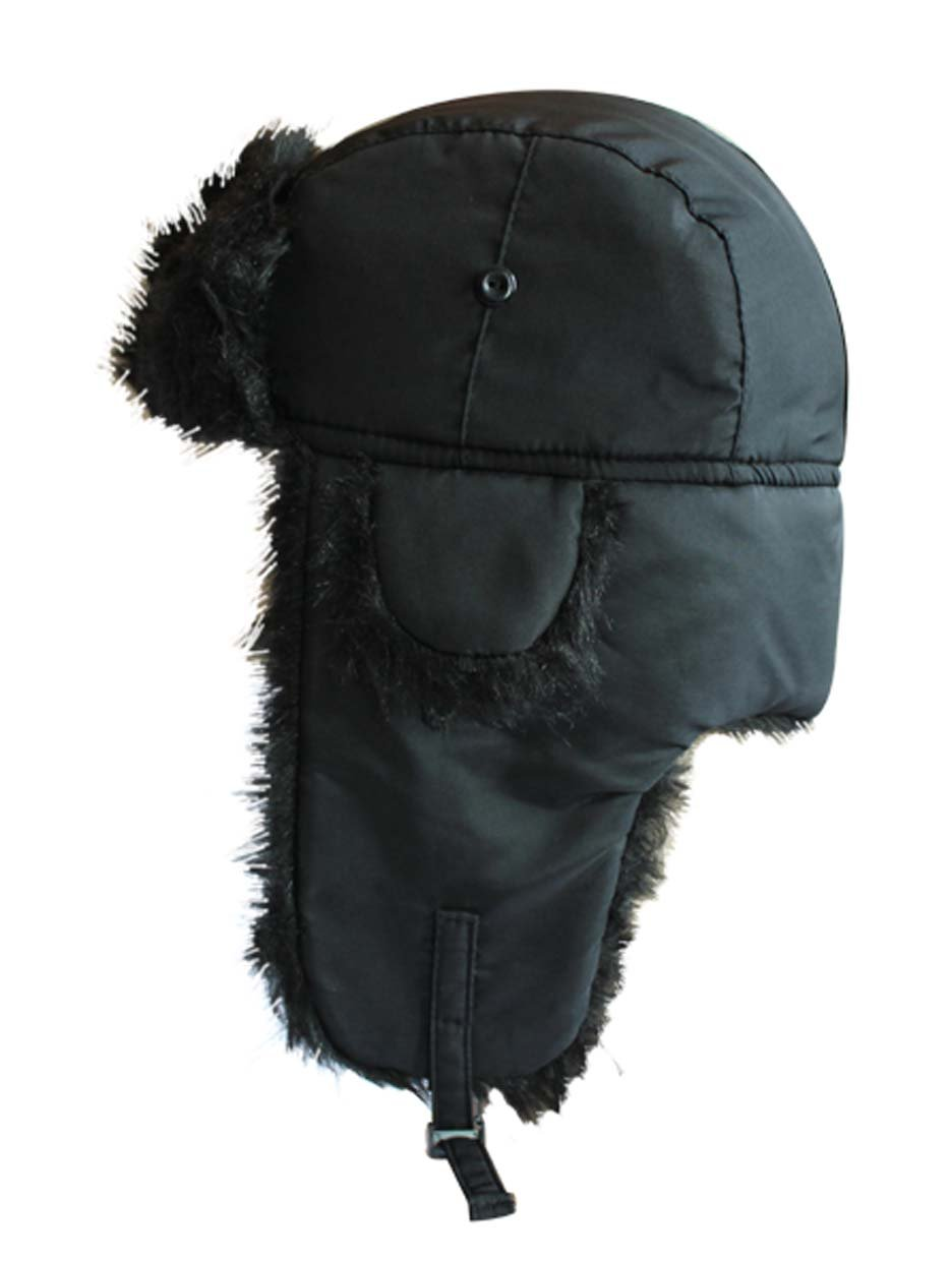 All Black Fur Trim Pilot Type Trapper Hat