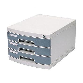 archivadores Gabinete de Archivo 3 Capas con Cerradura Clasificar Caja de Almacenamiento de Escritorio Gabinetes de Archivo de cajón de plástico Duro: ...