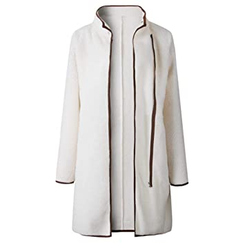 TJOIREJ Abrigos De Mujer Abrigo De Invierno De Manga Larga Bolsillos De Cuello Alto De Mujer