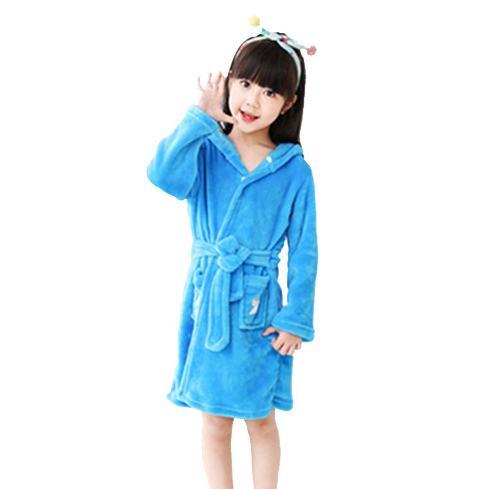 ECHERY Boys Girls Hooded Pajamas Soft Coral Fleece Bathrobe Unisex Dressing Gown Sleepwear