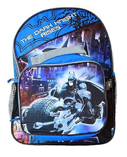 "Dc Comics Wb Batman Boys School Backpack With Dual Lunchpack 16"" Blue/Black"