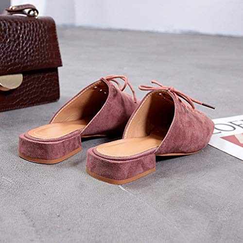 Été Carré Pantoufles Sauvage Femme Tête Style up yesmile De À Dames Sandales Lace Plates Ville Pink Mode Plat Chaussures wxvZYZ