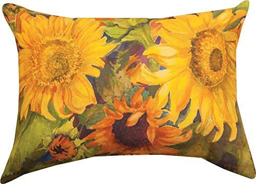 Manual Woodworkers Sunny Faces Sunflower Rectangle 18 x 13 Inch Indoor Outdoor Throw -