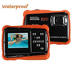 Waterproof Digital Camera for Kids, LINNNZI 12MP HD Underwater Action Camera Camcorder with 2.0 Inch LCD Display, 8x Digital Zoom, Flash and Mic by CABINAHOME