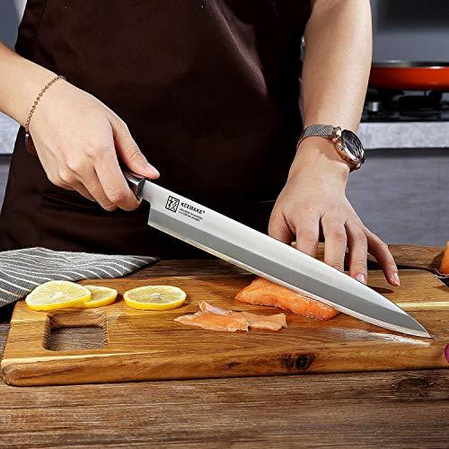 Sushi Knife, KEEMAKE Sashimi Yanagiba Knife Japanese - VG10 2-Layer Ply Steel Blade with Brazilian Pear Wood Handle by KEEMAKE (Image #4)