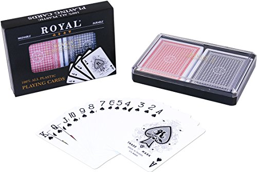 2-Decks Royal Poker Size Large (Jumbo) Index 100% Plastic Playing Cards Set in Plastic ()