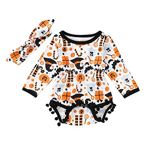 Infant Toddler Baby Boys Girls Cartoon Hair Ball Romper Jumpsuit Halloween Party Costume Headbands Dress up Outfits (Orange, 18-24 Months) -
