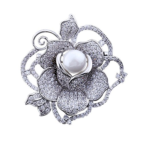 SHANLIHUA Rose Flower Brooch Pins for Womens Ladies Shell Pearl Safety pin Accessories White