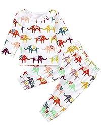 8a4e839e0891 Toddler Baby Boys Cotton Long Sleeve Elephant T-Shirt Tops Leggings  Trousers Infant Pants Clothing