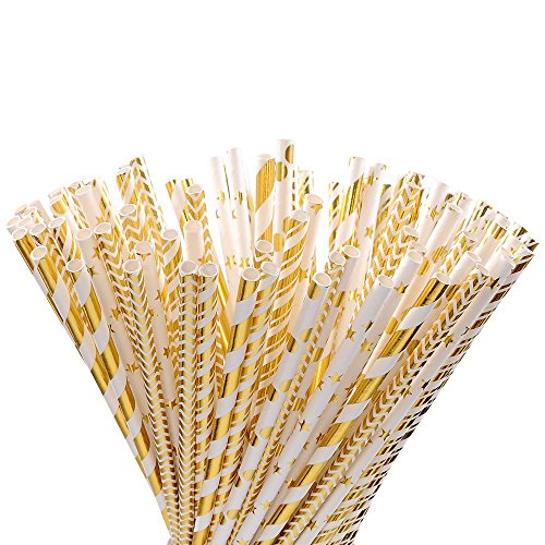 Outee 125 PCS Gold and White Paper Straws with Star Strip Dot Wave Pattern for Party