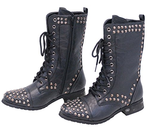 Jamin' Leather Women's Studded Combat Boots w/Zipper #BLC523LSK - stylishcombatboots.com