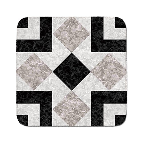 Stone Mosaic Tops - Cozy Seat Protector Pads Cushion Area Rug,Apartment Decor,Nostalgic Marble Stone Mosaic Regular Design with Alluring Elements Image,Black Beige,Easy to Use on Any Surface